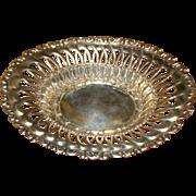 Lovely Old Pierced Ornate Sterling Silver Oval Bowl