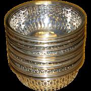 Set of 12 Sterling Silver Nut Bowls