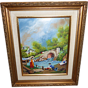 "Signed Original Enamel on Copper ""Washday"" by Leroy Framed Art"