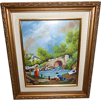 "Signed Original Enamel on Copper ""Washday"" by Leroy Framed Art"