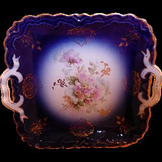 Beautiful Antique Flow Blue Serving Tray Platter Floral Design Bavaria