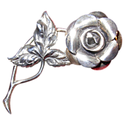 Lovely Vintage Beau Sterling Silver Rose Pin