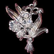 Vintage Sterling Silver Floral Pin / Brooch