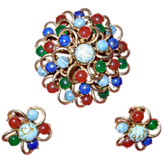 Vintage Costume Multicolored Large Round Pin with Earrings
