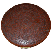 Vintage Large Leather Powder Compact