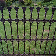 ca. 1865 Wrought Iron Fencing with Fan Finials