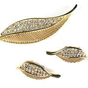 Kramer Crystal Rhinestone Leaf Brooch and Earrings
