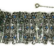 Green Confetti Cabochon Blue Rhinestone Bracelet and Pin