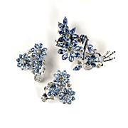 Coro Blue Rhinestone Flower Brooch and Earrings