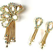White Cabochon AB Rhinestone Chain Dangle Brooch and Earrings