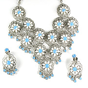 White Flower Opalesque Rhinestone Dangle Necklace and Earrings
