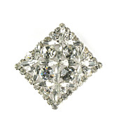 DeLizza and Elster Juliana Crystal Rhinestone Square Brooch