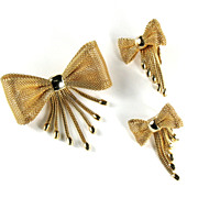 Lorraine Marsel Mesh Bow Brooch and Earrings