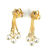Crystal Rhinestone Dangles Long Earrings