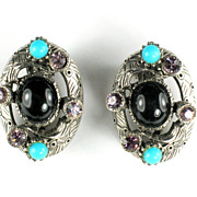 Selro Black Cabochon Rhinestone Earrings