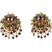 Amethyst Rhinestone Filigree Dangle Earrings