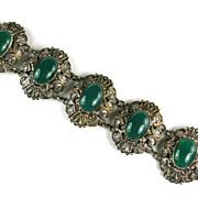 Czech Green Cabochon Bracelet