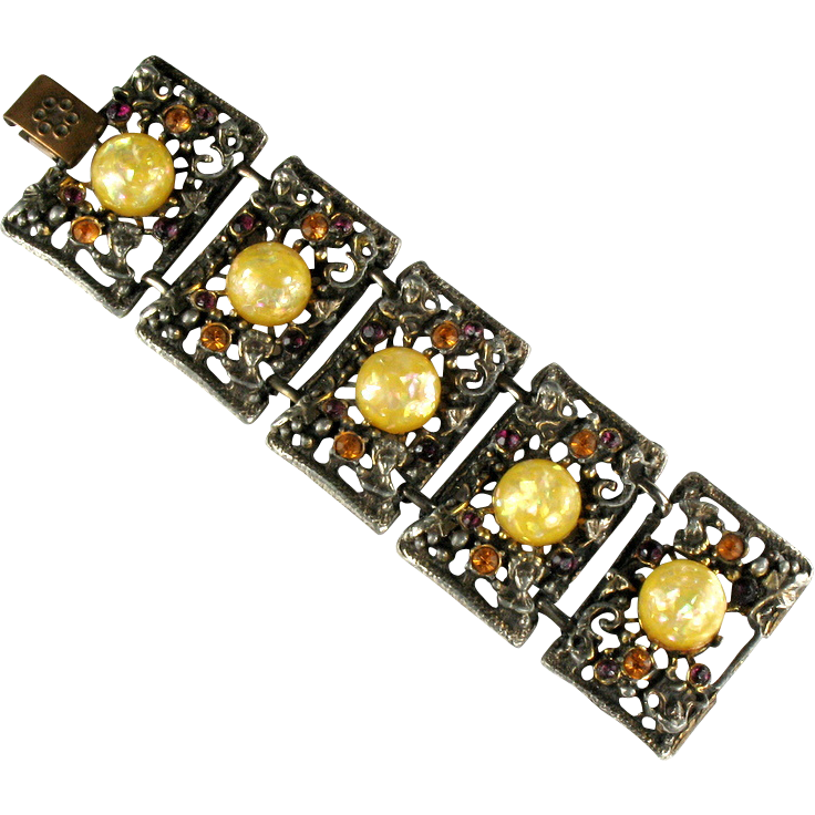 Lemon yellow confetti cabochon bracelet by selro from for Best place to sell gold jewelry in chicago