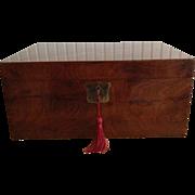 English Burl Walnut Document Box, Brass Handles, Key & Lock