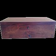 English Rosewood Box Writing Desk, Fully Fitted, Original Velvet Covers Full Length Hidden Drawer
