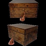 English Burr Walnut Victorian Ladies Toiletry Box C.1870, Bramah Lock Brass Cartouche, Drawer