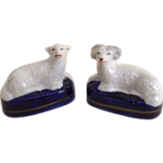 English Staffordshire Figurine's of a Ram and a Lamb