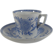 English Transferware Blue and White Cup and Saucer,  Late Victorian