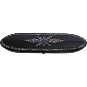 English Victorian Black Lacquer Mother-of-Pearl Glasses Case