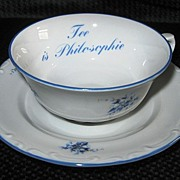 "Johann Seltmann ""Tee is Philosophie"" Floral Tea Cup and Saucer, Bavaria"