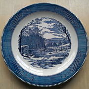 """Royal China Currier & Ives12 Chop Plate """"Getting Ice"""" Blue Pattern"""