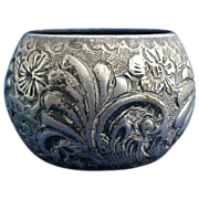 Excellent English Repousse Sterling silver Napkin Ring For Bill 1895-6 Chester