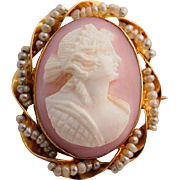 Antique Edwardian Oval Cameo 10k Yellow Gold Hand-carved Pink Shell Seed Pearls