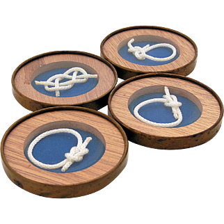 Vintage Brass Drink Coasters Navy Blue Nautical White Knot Sailor Décor Set of Four