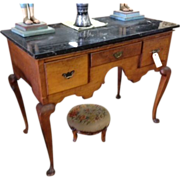 Spectacular Antique English Burl Wood Lowboy Table with Black Marble Top