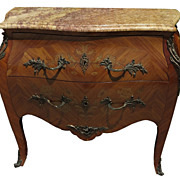 Antique Italian Inlaid Bombay Commode with Marble Top