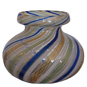 Unusual Antique Italian Venetian Art Glass Vase with Swirling Latticino