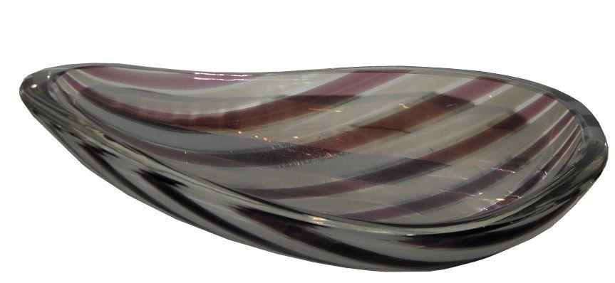 Unusual Vintage Murano Purple Stripe Italian Art Glass Bowl