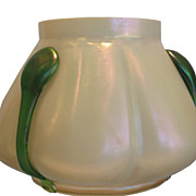 Unusual Antique Loetz White & Green Iridescent Glass Vase