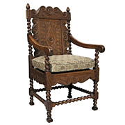 Unusual Antique 19th Century Continental Carved Oak Arm Chair c.1833