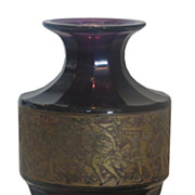 Unusual Antique Moser Gold Encrusted Amethyst Cameo Glass Vase Signed