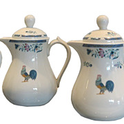 Set of 4 Bernardaud Limoges Porcelain Hot Water Pitchers or Jugs with Blue Chicken