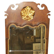 Unusual Vintage Cannell & Chaffin Walnut Gilt-wood Mirror Made In Italy