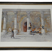 Antique Italian Watercolor Painting w Priest & Boys
