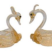 Unusual Pair of Antique Gold Venetian Glass Swan Salt Bowls