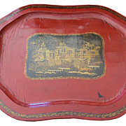 Unusual Antique Red & Black Papier Mache Tray w Gold Chinois Decoration