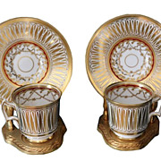 Pair Antique Royal Chelsea Porcelain Cup Saucers Cathedral Phyllis Diller Estate