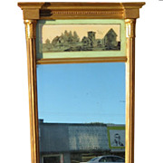 Unusual Antique Federal Gold Eglomise Mirror w Reverse Painted Landscape Scene