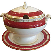 Antique Spode Crimson Red & Gold Footed Tureen & Underplate