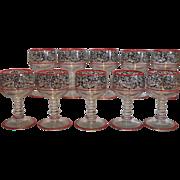Rare Antique Deco Cambridge Glass Tally Ho Port Wine Stem Red Enamel SET 10