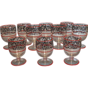 Rare Antique Deco Cambridge Glass Tally Ho Sherry Wine Stem Red Enamel SET 10